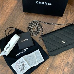 Black Chanel Wallet On Chain SHW Made In France